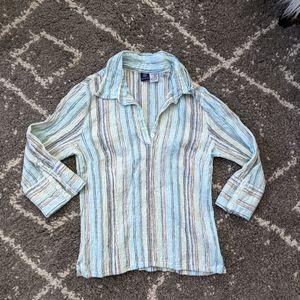 ⚡3/$20⚡Striped wrinkle effect cotton shirt sz:LP